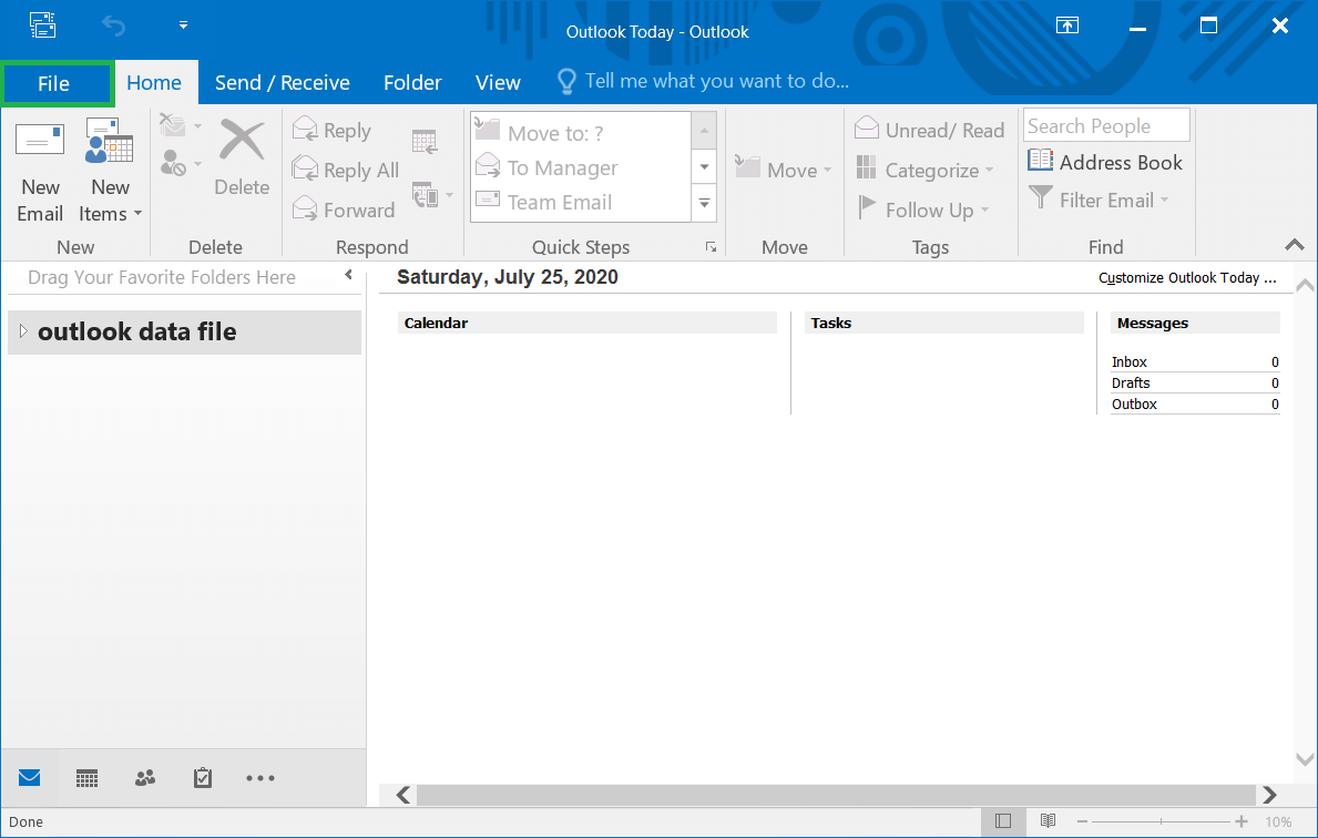 Start Outlook and click File option