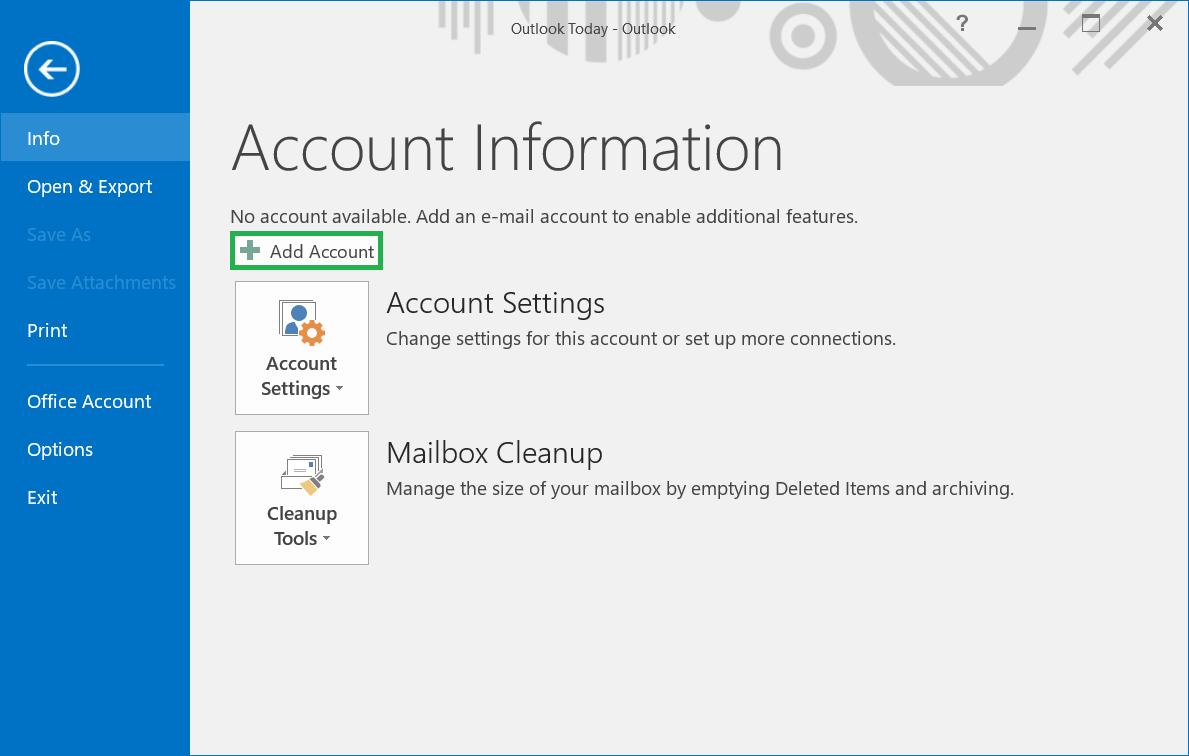 Click the Add Account button.