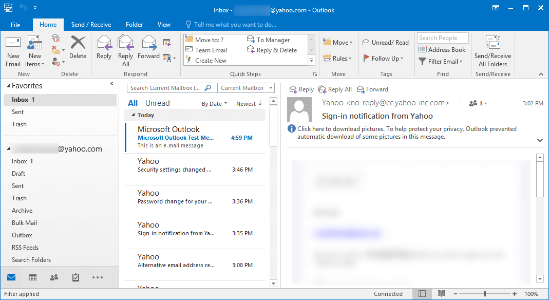 Yahoo account in the Outlook including all its folders