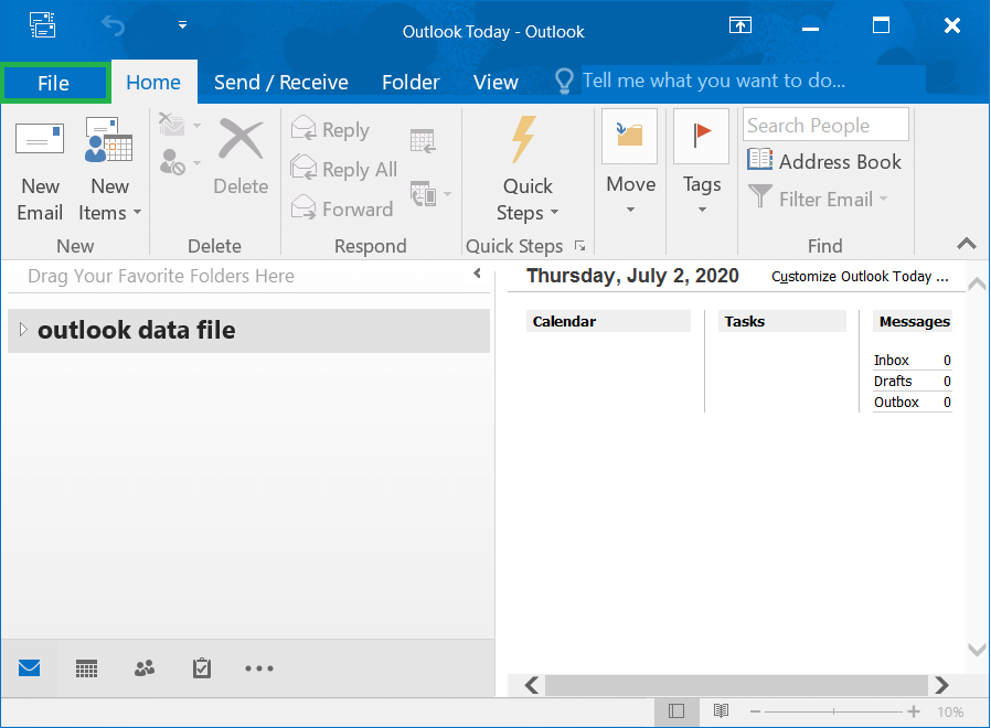 Start Outlook and click the File option