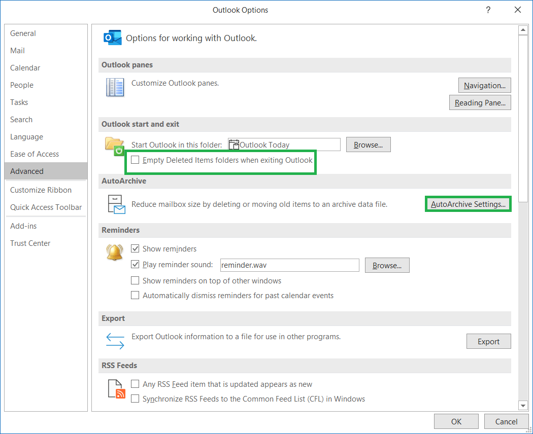 Click on AutoArchive Settings tab under AutoArchive section