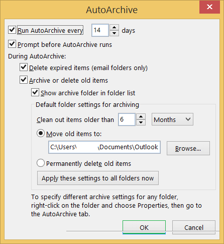 Set multiple options to AutoArchive the Outlook emails