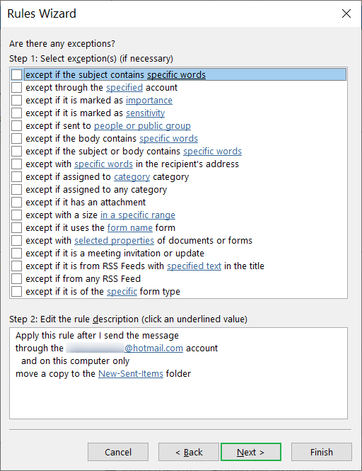 Multiple exception options