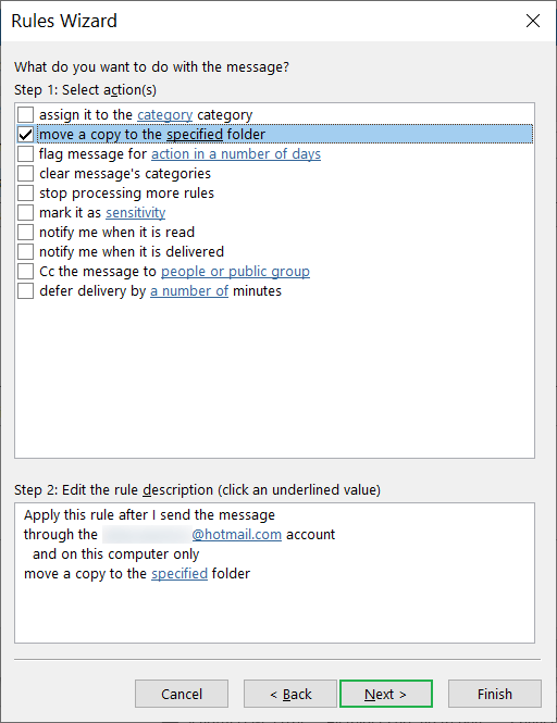 Move to a copy to a specified folder