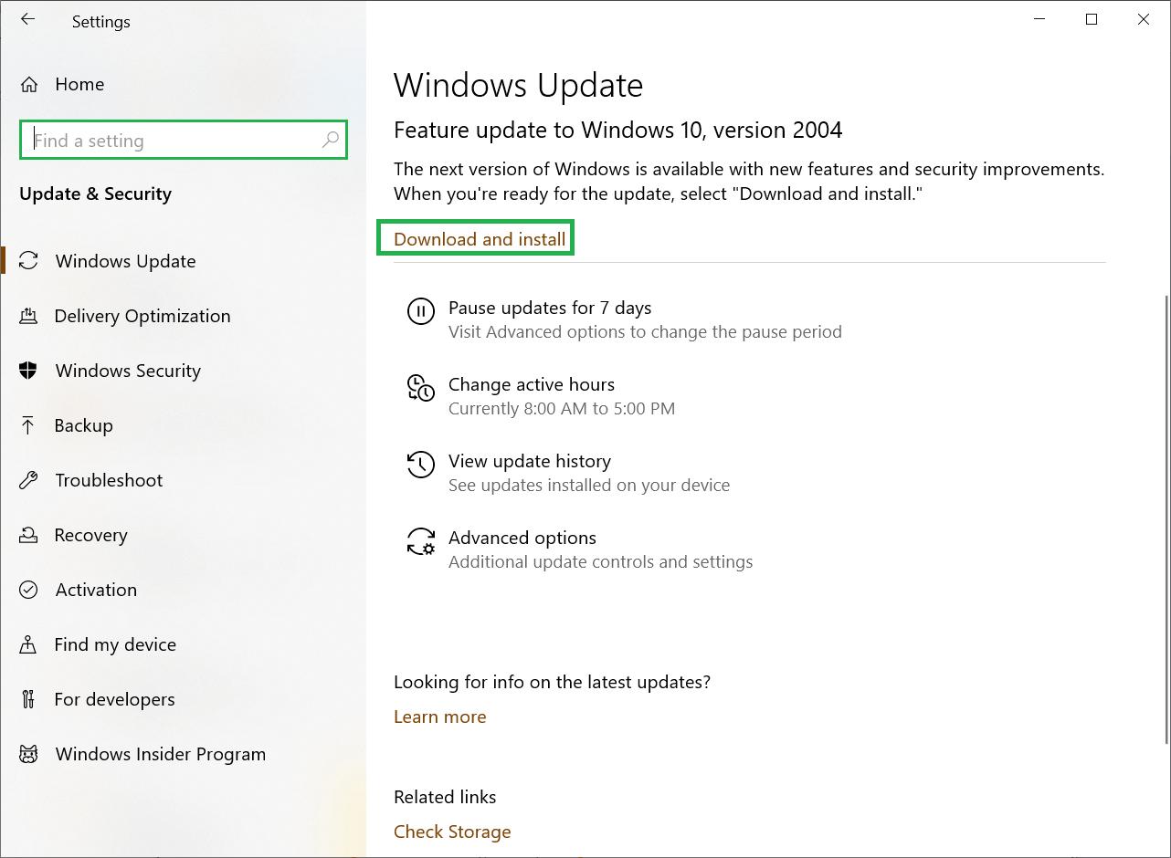 Update for Windows is pending