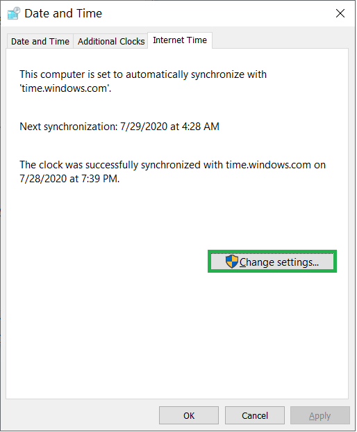 Click the button Change Settings