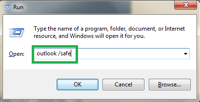 Run your Outlook application in safe mode