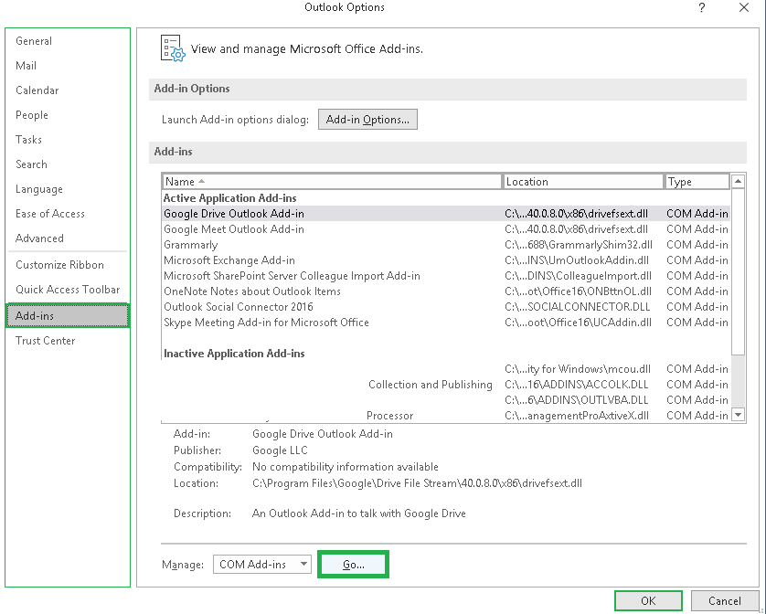 Click on Go against Manage Add-ins section.