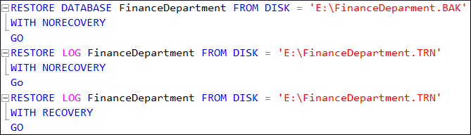 NORECOVERY command to run multiple additional backups at once