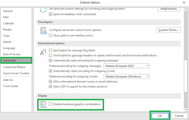 Checkbox saying Disable hardware graphics acceleration