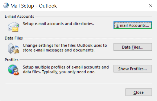 The Mail Setup will open up