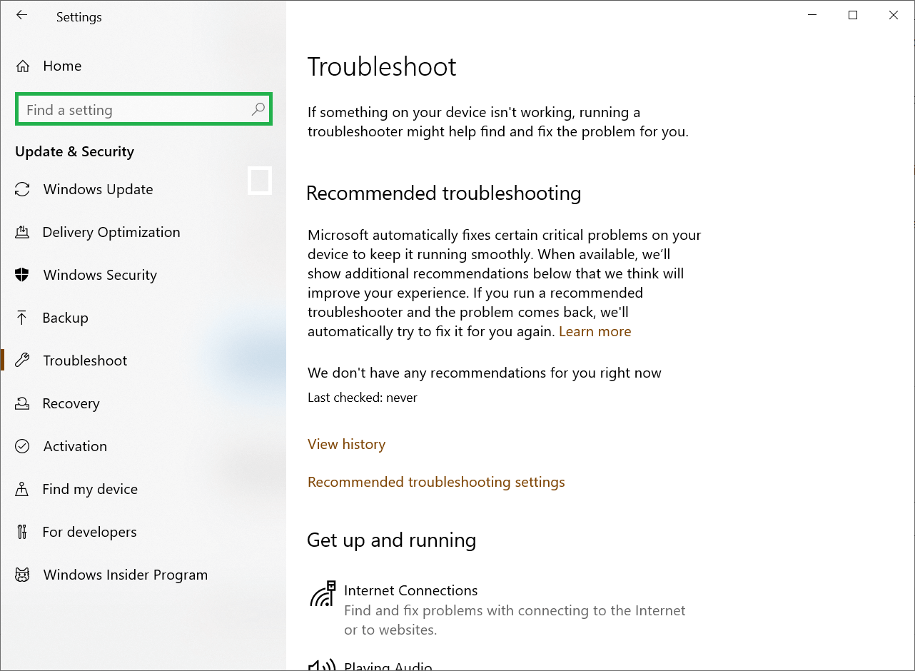 Update & Security and finally click Troubleshooting