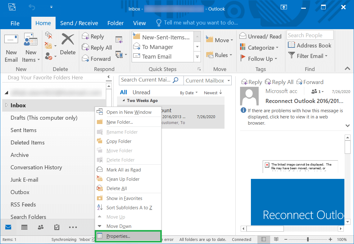 Open Outlook and choose the folder