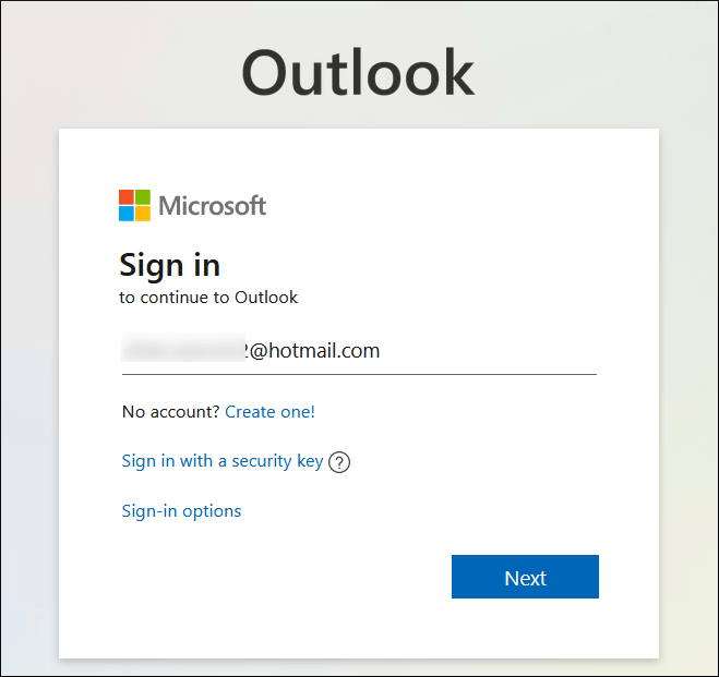 Sign in using your Microsoft account