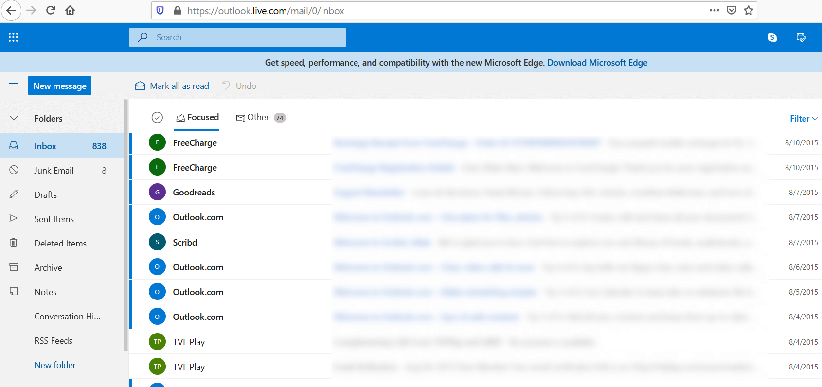 Your accounts are present in the web version of Outlook