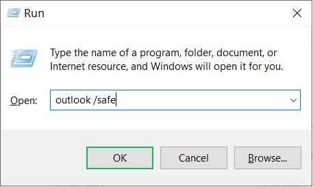 Type Outlook.exe /safe