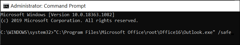 Command prompt and input the whole path of Outlook