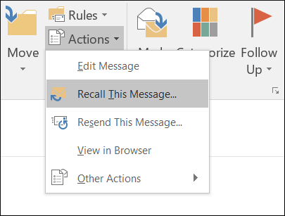 Go to Actions drop-down and choose the Recall button