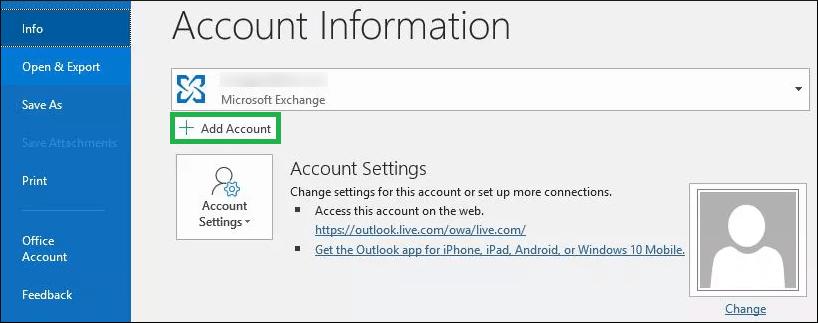 Click the Add account button