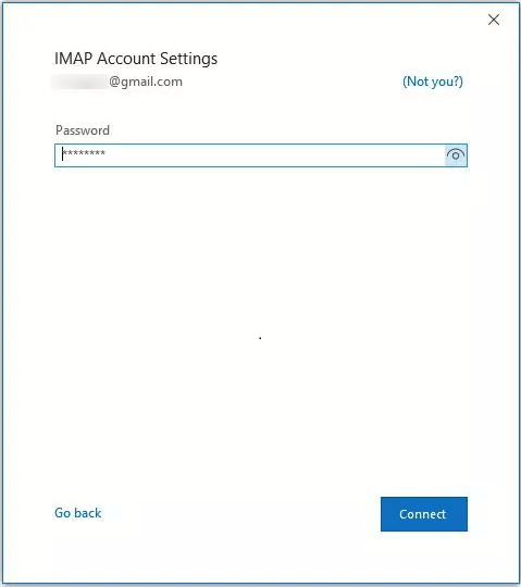Input the Password of the account and click Connect