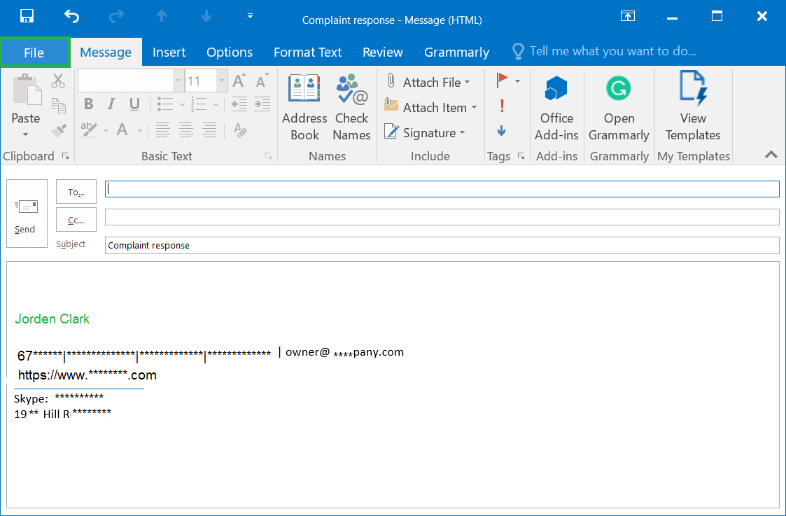 Provide a subject to the New Email and write the message