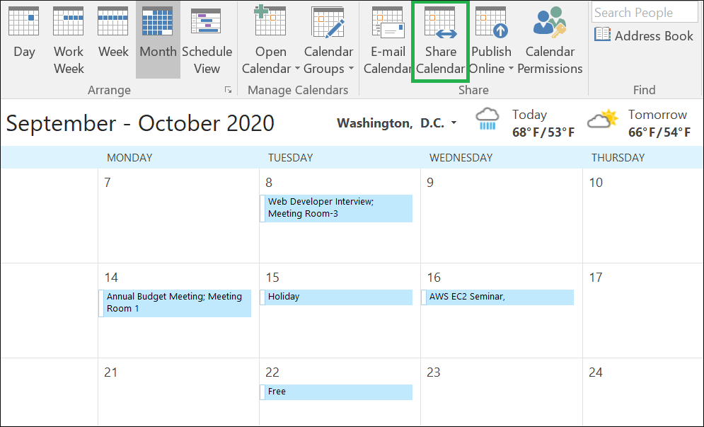Open Outlook and choose the calendar that you want to share