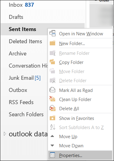 Go to Sent Items folder and choose Properties