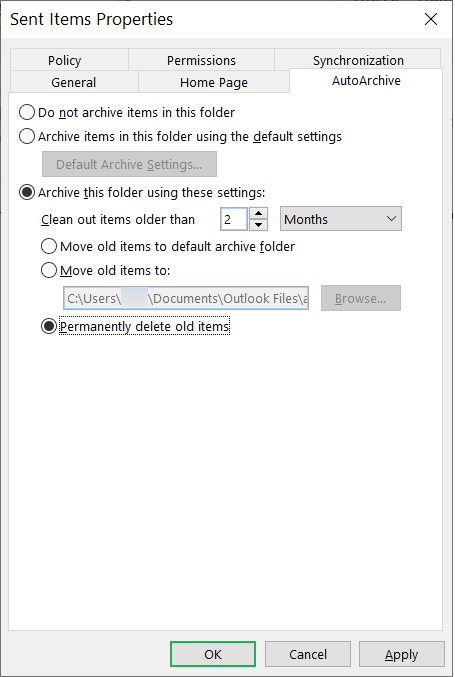 Select 'Clean out items older than', then set the period