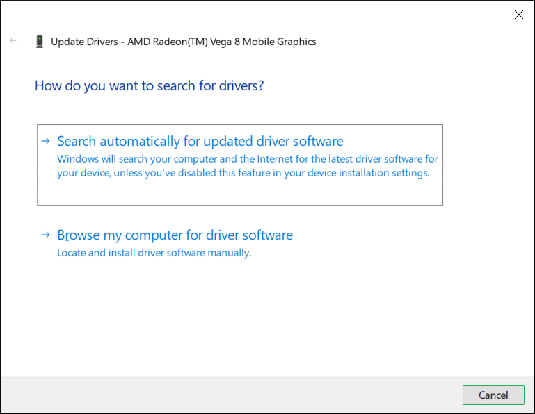 Two options to search for the updated drivers