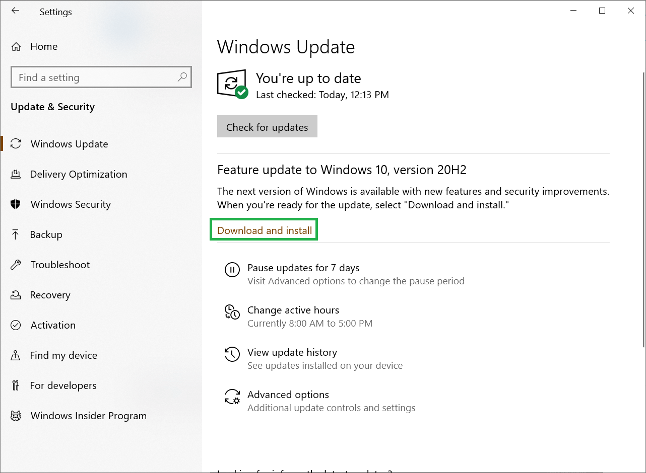 Click Check for Updates and it will retrieve the supposed update to the Windows