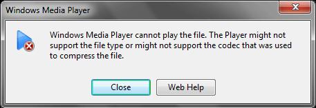 Windows Media Player shows the following error
