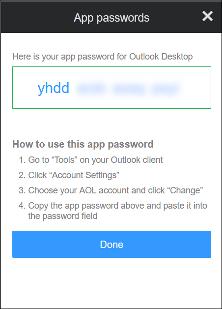 A unique and new app password is generated for the Outlook application
