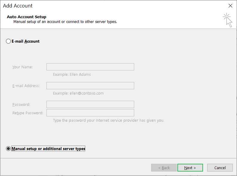 Choose the second option of Manual Setup or Additional server types