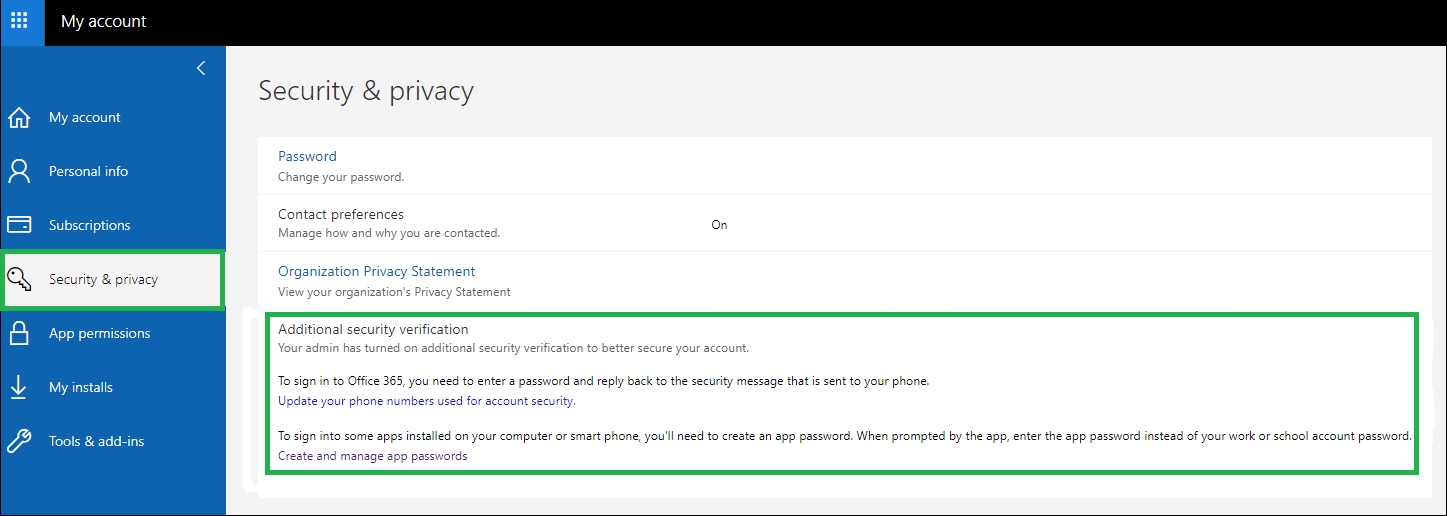 Select the 'Security & Privacy' category and expand the Additional Security Verification