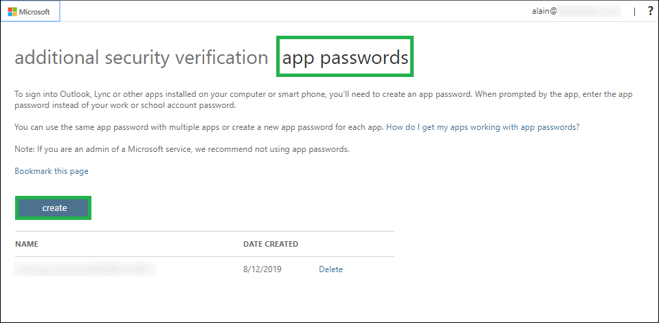 On the newly opened app password page, click the Create button