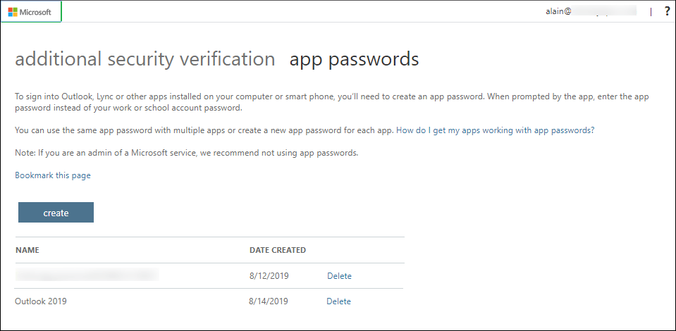 See that a new app password is listed on the app passwords page