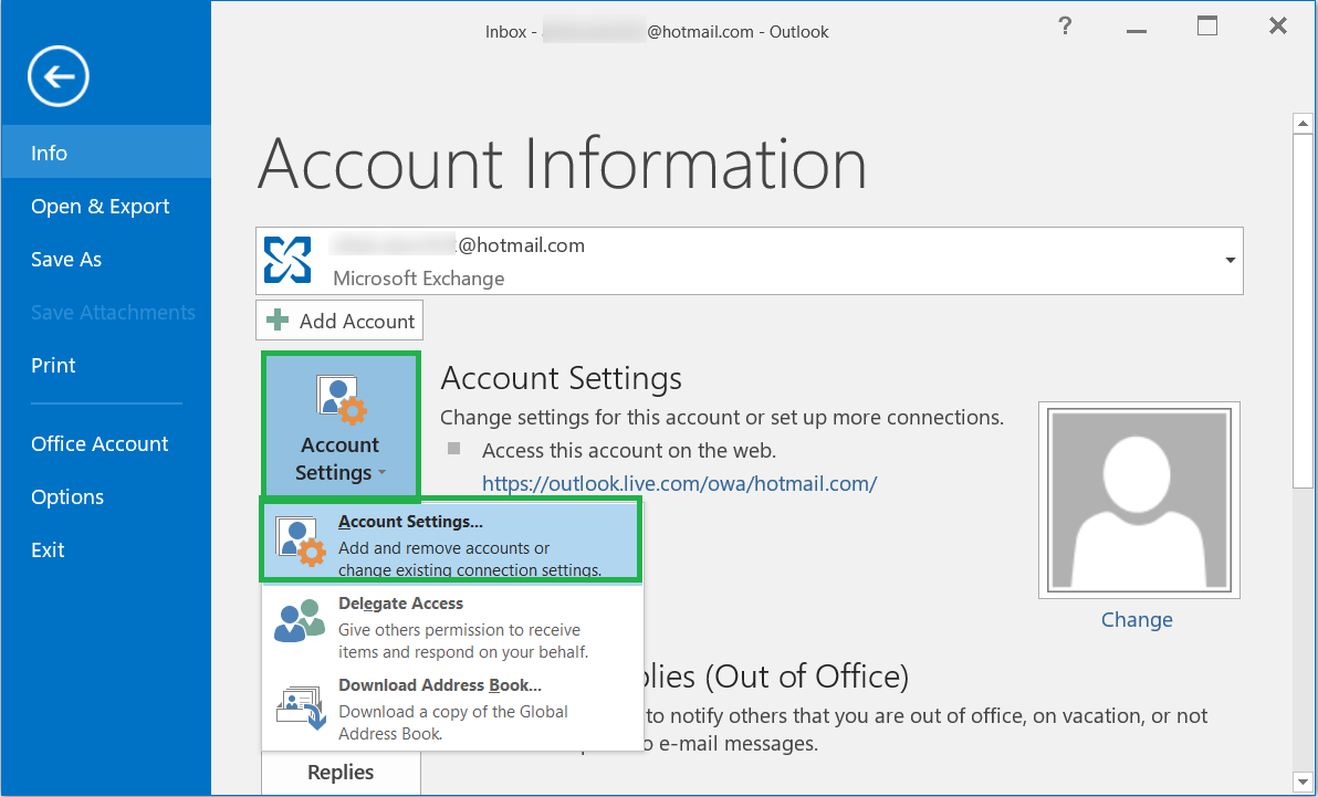 Click Account Settings, then Account Settings