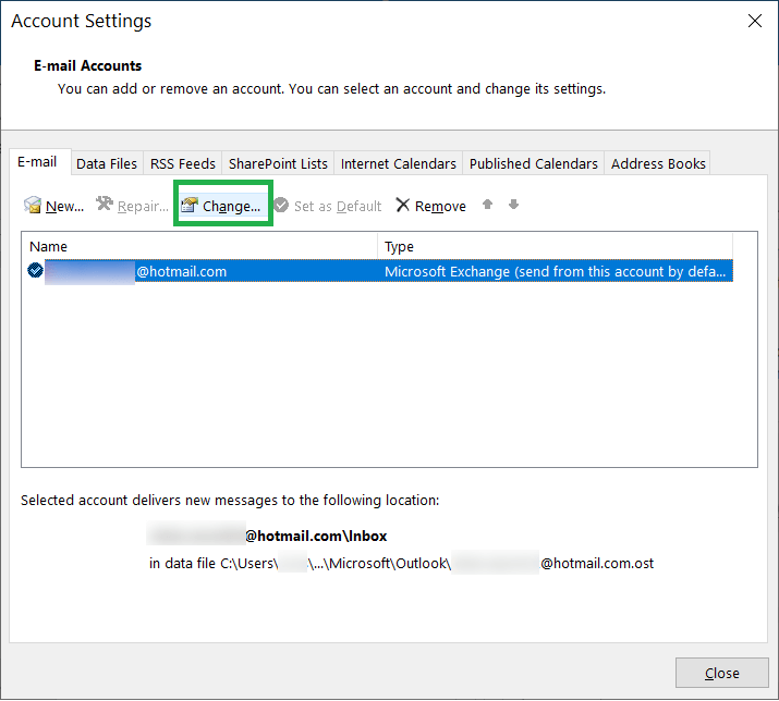 Choose the account showing the error