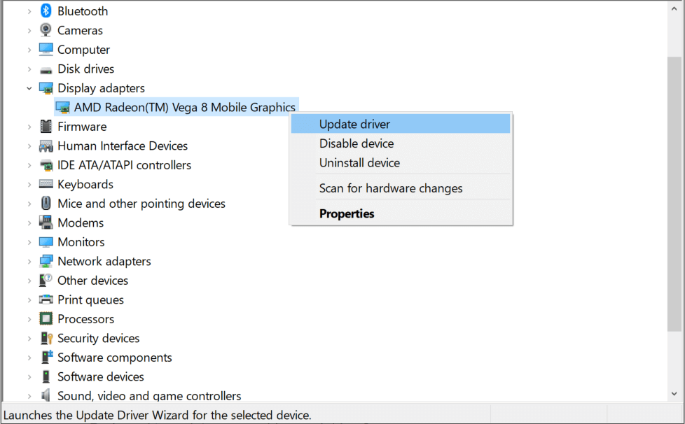 Display Adapter, right-click and choose Update Driver