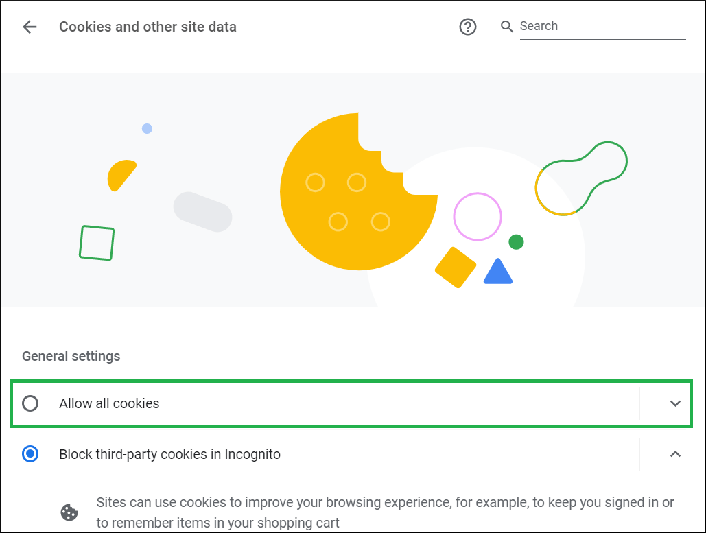 Choose the first option to Allow All cookies