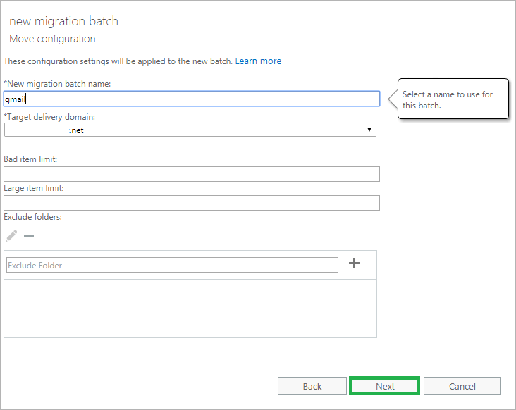 Provide the migration batch name, target delivery domain