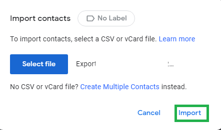 Contacts will be imported to the Google Contacts application