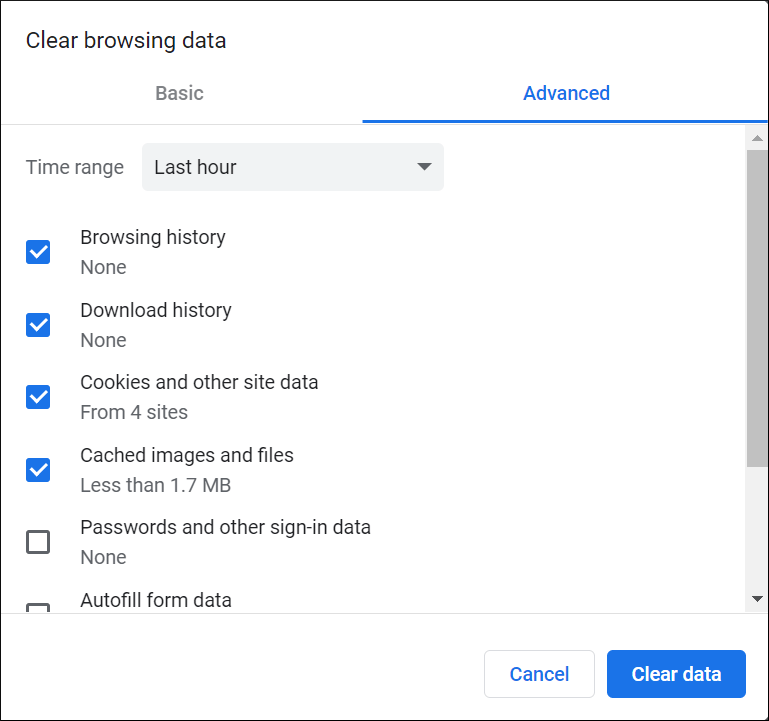 Select the Cache and Cookies data