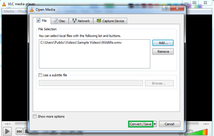 Click on the Convert/Save option at the bottom