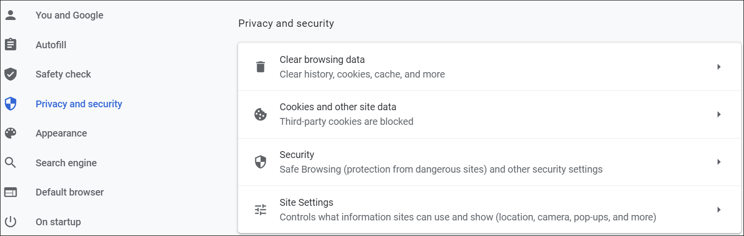 Open the Settings page of Google Chrome