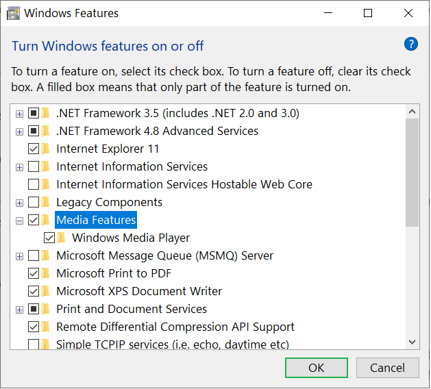 Windows Media Player checkbox is checked