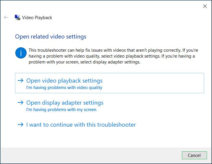 Choose display adapter settings
