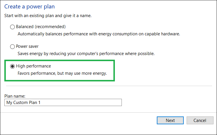 Choose the High-Performance option and create a new plan for the system