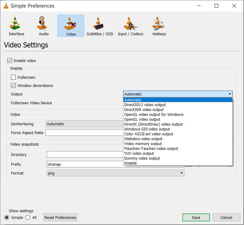 Drop-down to select various video outputs