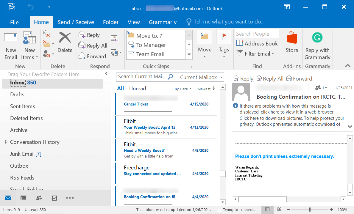 Screen of the Outlook application